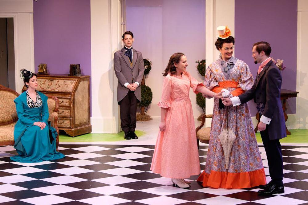 Gwendolen (Jane Bradley), Jack (Michael Raver), Cecily (Laura Hankin), Lady Bracknell (Katrina Ferguson), Algernon (James Parenti)