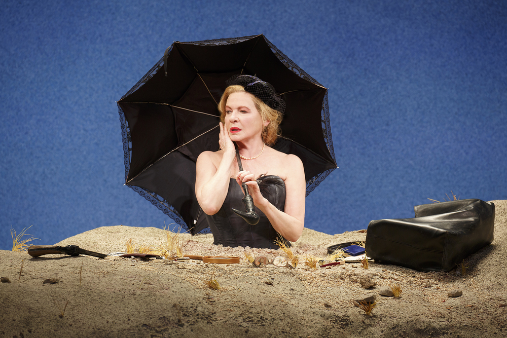 Winnie (Dianne Wiest) with paraphernalia (photo: Joan Marcus)