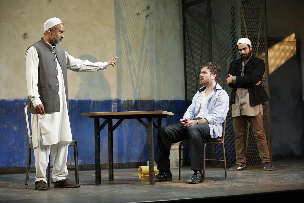 Imam Saleem (Rajesh Bose), Nick Bright (Eric Bryant), Bashir (Fajer Kaisi) (photo: Carol Rosegg)