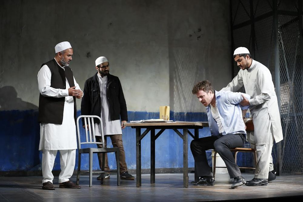 Imam Saleem (Rajesh Bose), Bashir (Fajer Kaisi), Nick Bright (Eric Bryant), Dar (Jameal Ali) (photo: Carol Rosegg)