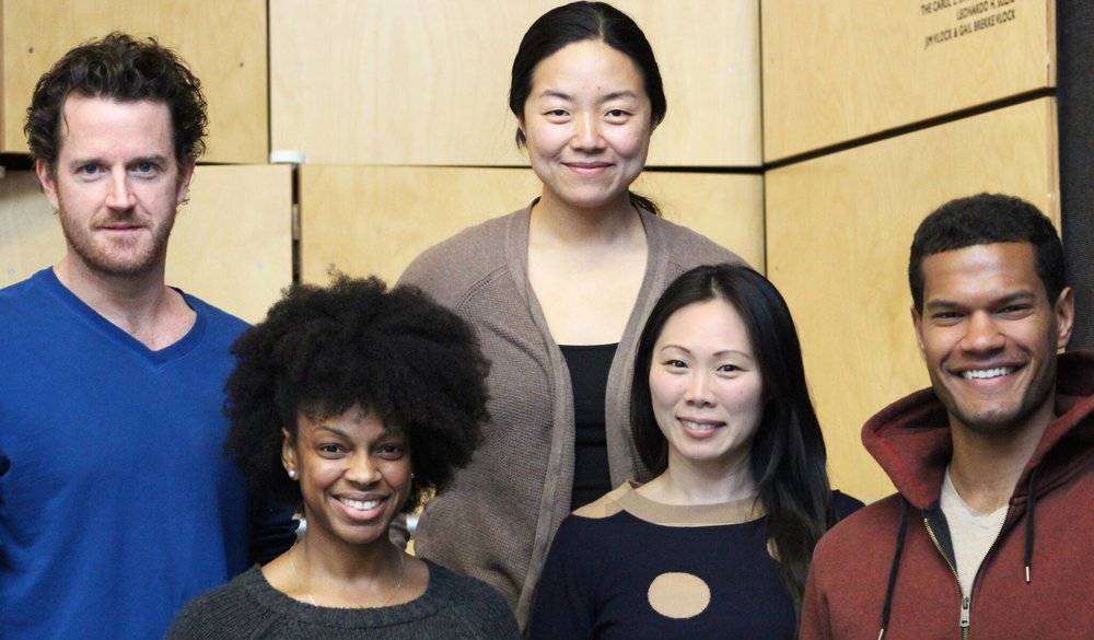 left to right: back row: Peter O'Connor (Brian); director Desdemona Chiang; front row: Tiffany Nichole Greene (Valerie), Ka-Ling Cheung (Ginny), Sullivan Jones (Jackson)