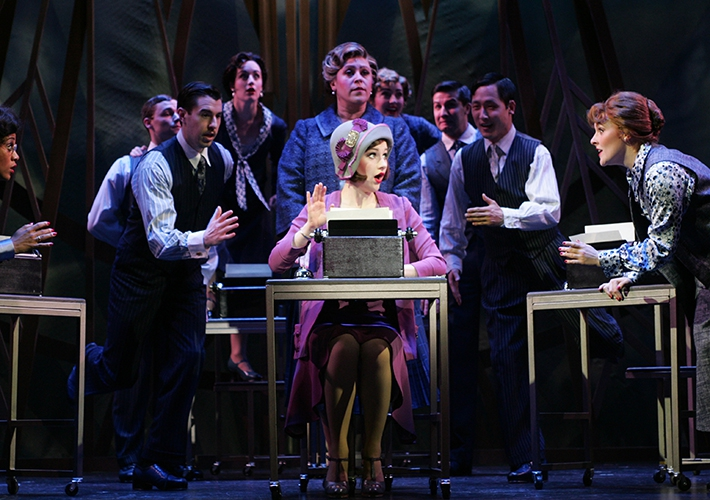 The cast of Thoroughly Modern Millie; Millie (Taylor Quick), center (photo: Diane Sobolewski)