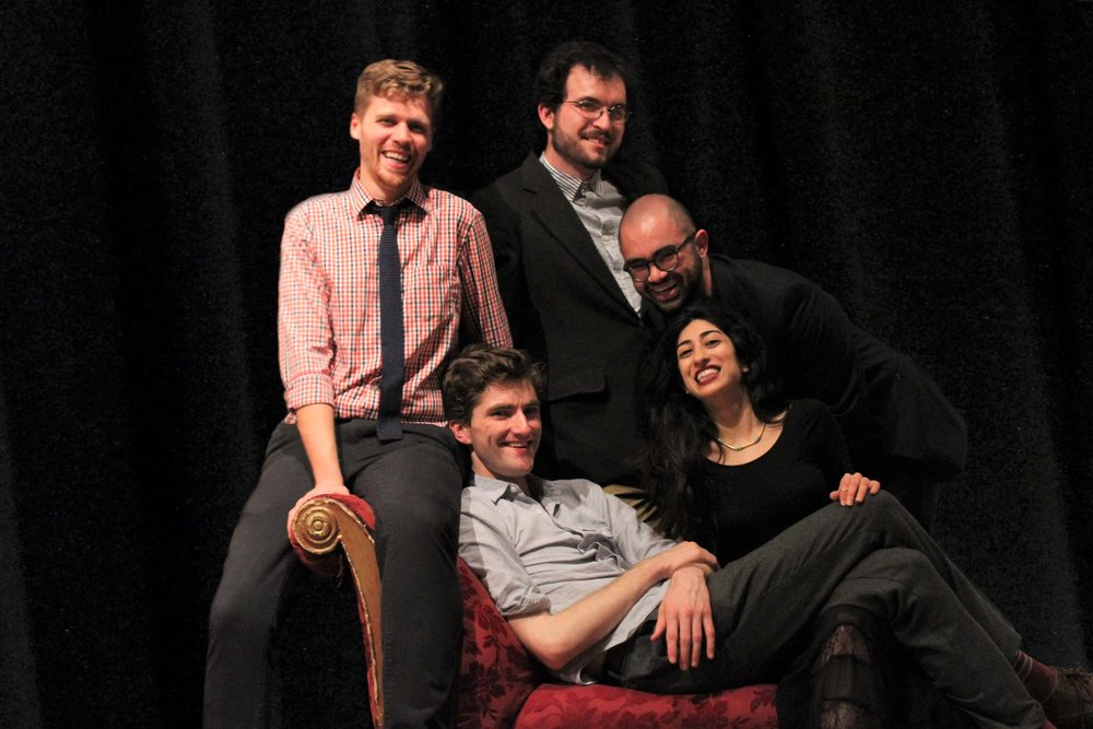 The Yale Summer Cabaret team: Rory Pelsue and Shadi Ghaheri (seated); Trent Anderson, Dashiell Menard, Leandro A. Zanetti (standing)