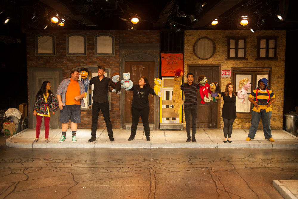 The cast of Avenue Q (left to right): Christmas Eve (EJ Zimmerman), Brian (James Fairchild), Princeton/Rod (Weston Chandler Long), Bad Idea Bears (Colleen Welsh), Trekkie/Nicky (Peej Mele), Kate/Lucy (Ashley Brooke), Gary Coleman (Abena Mensah-Bonsu) (photos courtesy of Curt Henderson, Imagine It Framed)