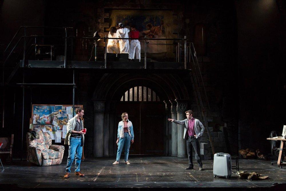 foreground: Leo Katz (Steven Lee Johnson), Gabriella Pecs (Stella Baker), Oliver Davenport (Patrick Madden)