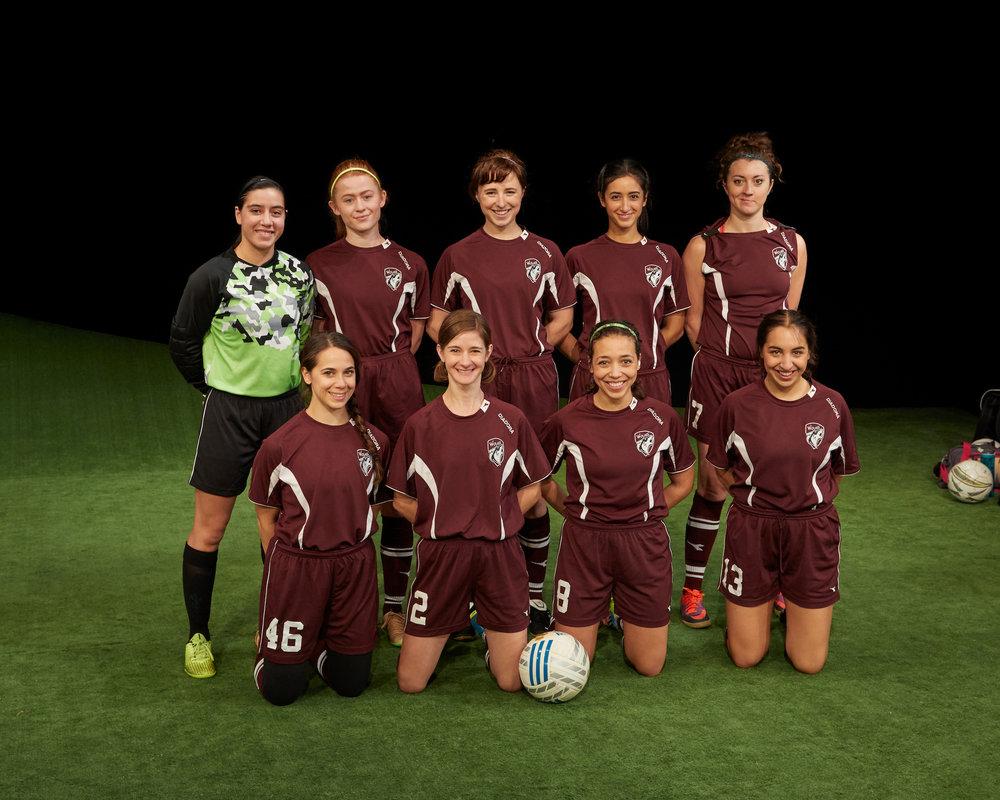 front row: Caitlin Zoz, Carolyn Cutillo, Claire Saunders, Dea Julien; back row: Karla Gallegos, Shannon Keegan, Emily Murphy, Rachel Caplan, Olivia Hoffman