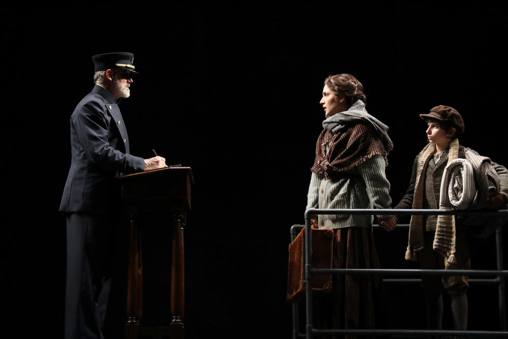Ellis Island official (Jeff Williams), Rebecca Hershkowitz (Samantha Massell), David Hershkowitz (Christian Michael Camporin) (photos credit: Diane Sobolewski)