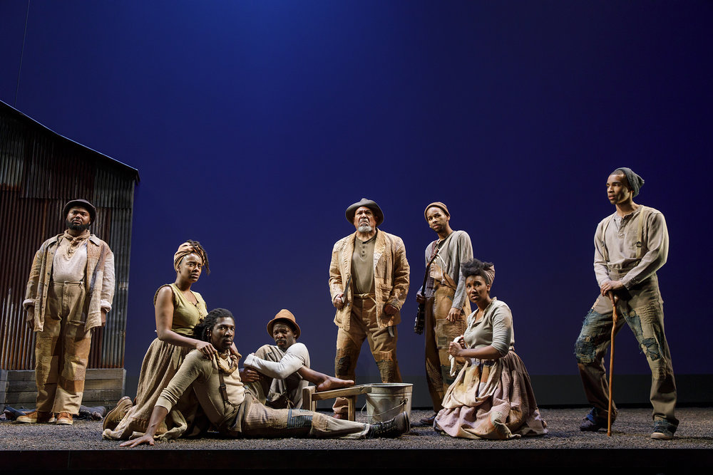The cast of Father Comes Home from the Wars, Part 1, at Yale Repertory Theatre (photos by Joan Marcus)