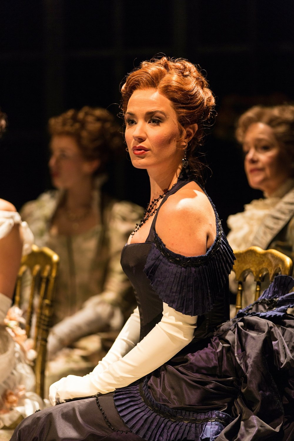 Countess Ellen Olenska (Sierra Boggess), foreground, with Sara Norton, left, and Deirdre Madigan