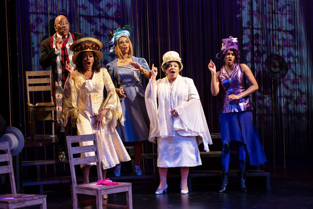 Lawrence Clayton, Stephanie Pope, Rebecca E. Covington, Shari Addison, Latice Crawford in Crowns (photos by T. Charles Erickson)