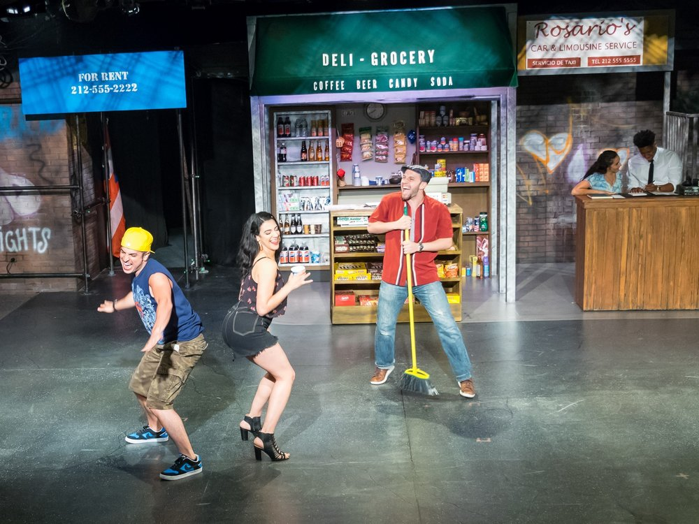 Sonny (Nick Palazzo), Vanessa (Sophia Introna), Usnavi (Niko Touros), foreground; Nina (Analise Rios), Benny (Leyland Patrick), background (photos by Curt Henderson)