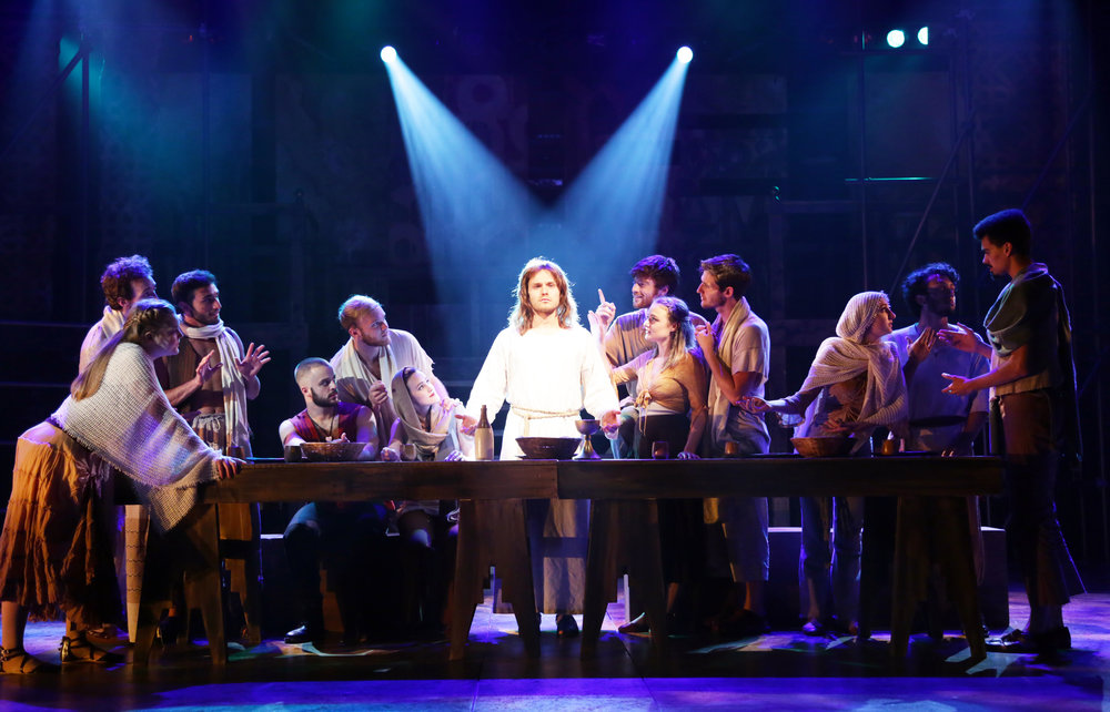 "Jesus (Alex Prakken), center, with the apostles/ensemble (photos courtesy of CT Repertory Theatre production of ""Jesus Christ Superstar"")"