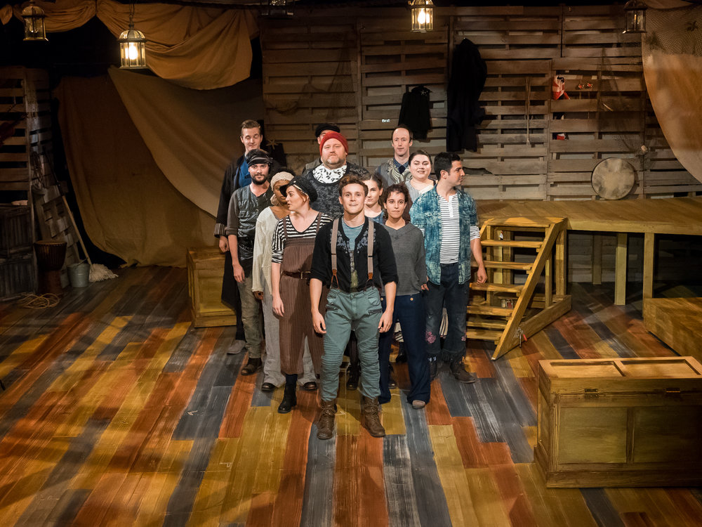 Boy (Jared Starkey) and the cast of Peter and the Starcatcher, Playhouse on Park (photos: Curt Henderson)