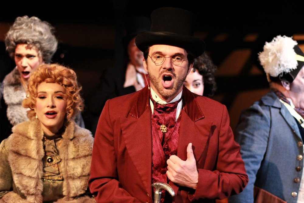 foreground: Emma Carew (Carissa Massaro), Gabriel John Utterson (Sean Hayden), and the cast of Jekyll & Hyde
