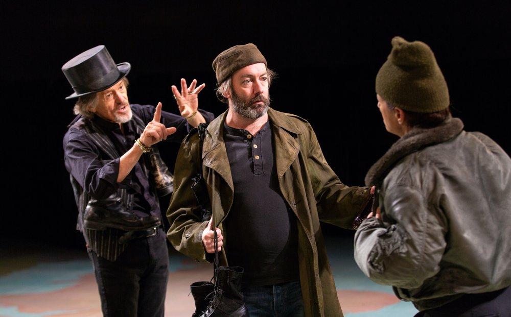 Pistol (Miles Anderson), Bardolph (Liam Craig), Nym (Felicity Jones Latta)