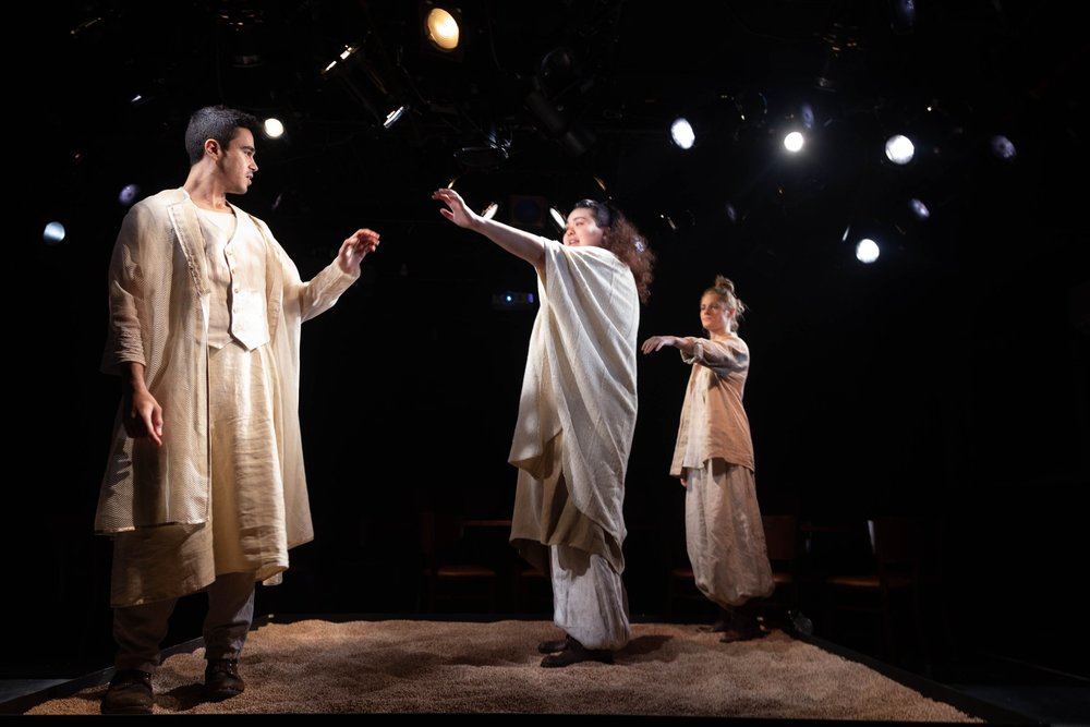 Akubakr Mohamed Ali, Ilia Isorelýs Paulino, Rachel Kenney in Agreste (Drylands) at Yale Cabaret, directed by Danilo Gambini