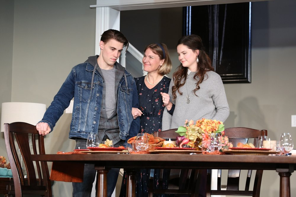 At the Forsters; Andrew Veentra, (Actor 6), Kelly McAndrew (Actor 1), Katie Ailion (Actor 5) in Thousand Pines at Westport Country Playhouse (photographs by Carol Rosegg)