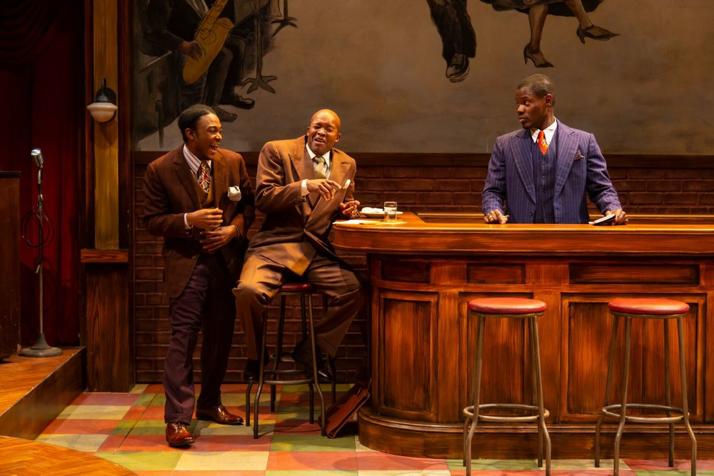 P-Sam (Freddie Fulton), Corn (Leon Addison Brown), Blue (Stephen Tyrone Williams) in Long Wharf Theatre's production of Paradise Blue (photo by T. Charles Erickson)