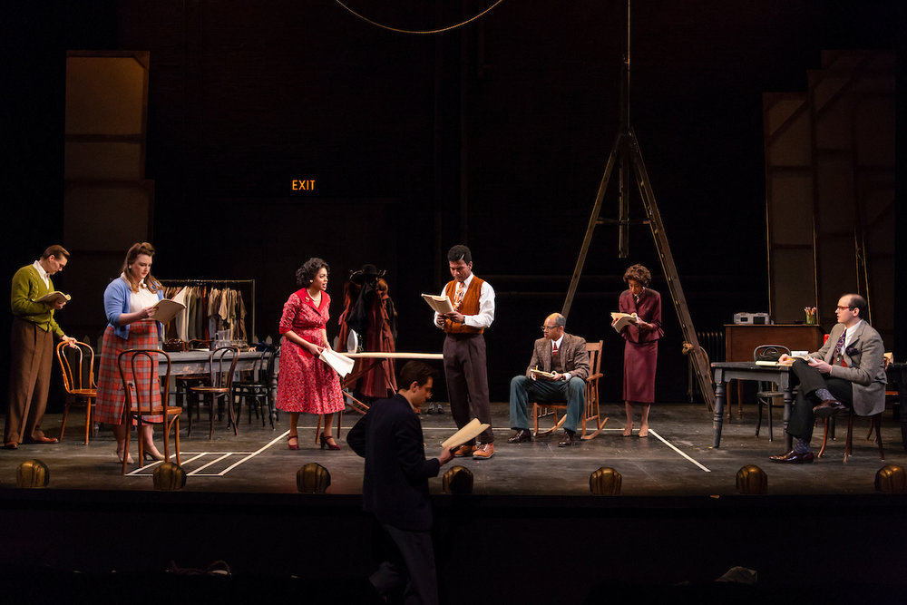 The cast of the Yale School of Drama production of Trouble in Mind, directed by Aneesha Kudtarkar; foreground: Al Manners (Stephen Cefalu, Jr.); onstage, right to left: Bill O'Wray (Hudson Oz), Judy Sears (Zoe Mann), Wiletta Mayer (Ciara Monique McMillian), John Nevins (Gregory Saint Georges), Sheldon Forrester (Manu Nefta Heywot Kumasi), Millie Davis (Amandla Jahava), Eddie Fenton (Devin White), not pictured: Henry (John Evans Reese) (photos by T. Charles Erickson)