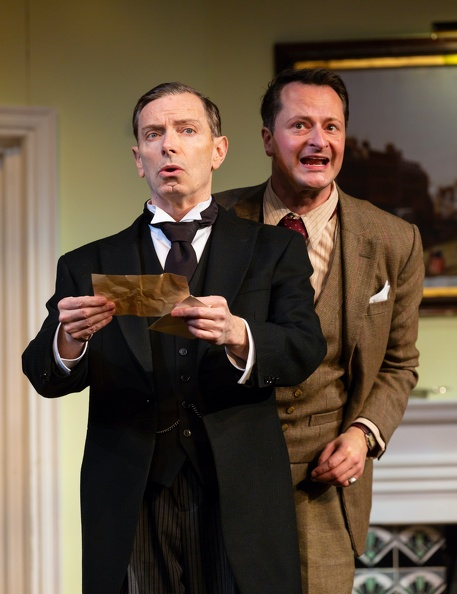 Jeeves (Arnie Burton), Wooster (Chandler Williams) in  Jeeves & Wooster in Perfect Nonsense , at Hartford Stage, directed by Sean Foley