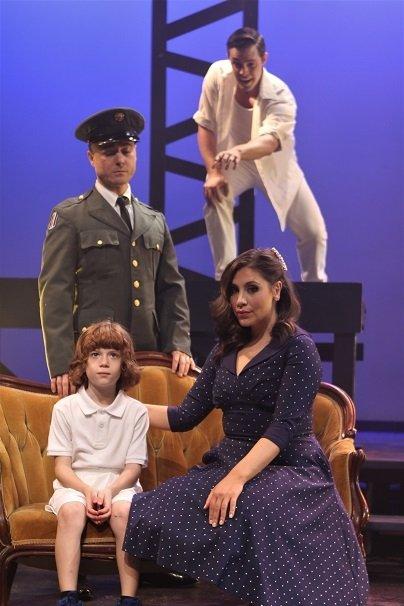 clockwise from top: Tommy (Garrison Carpenter), Mrs. Walker (Jillian Jarrett), 4-year-old Tommy (RJ Vercellone), Captain Walker (Ryan Bauer-Walsh) (photo by Paul Roth)