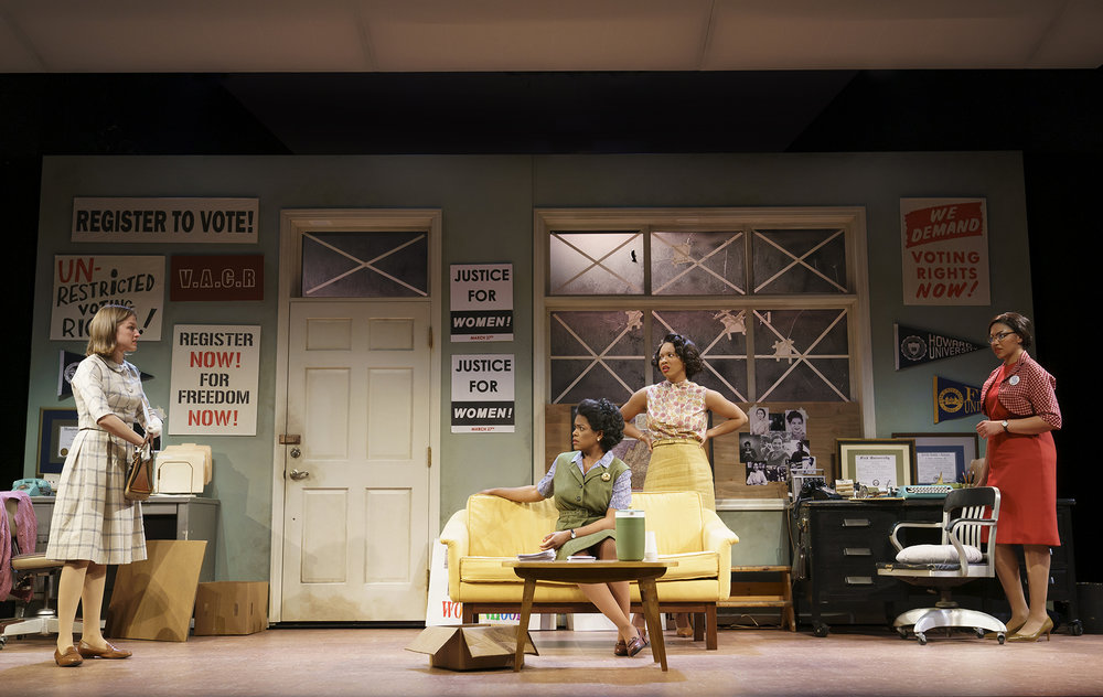 Sarah (Brontë England-Nelson), Dee (Ashley Bryant), Abby (Dria Brown), Rachel (Chalia La Tour) in the Yale Repertory Theatre production of Cadillac Crew, directed by Jesse Rasmussen and Tori Sampson (photo by Joan Marcus)