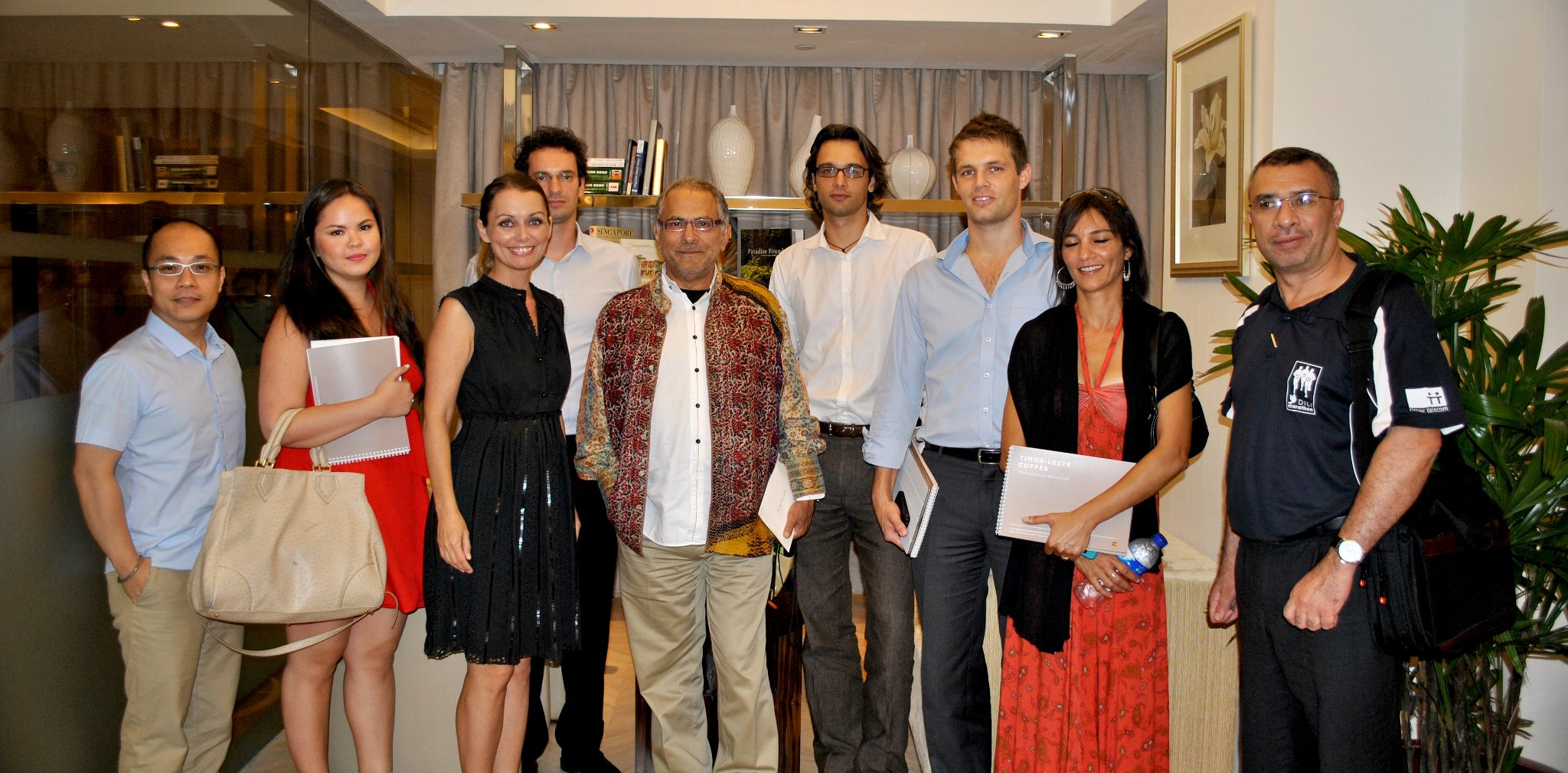 The Cafe Timor-Leste volunteer team - from Left - Allan Agustin, Unknown, Kristine Oustrup Laureijs, Nils Van Wassenhove, H.E. Jose Ramos-Horta, Christophe Delacroix, Henrik Meltesen, Heena Patel, Unknown