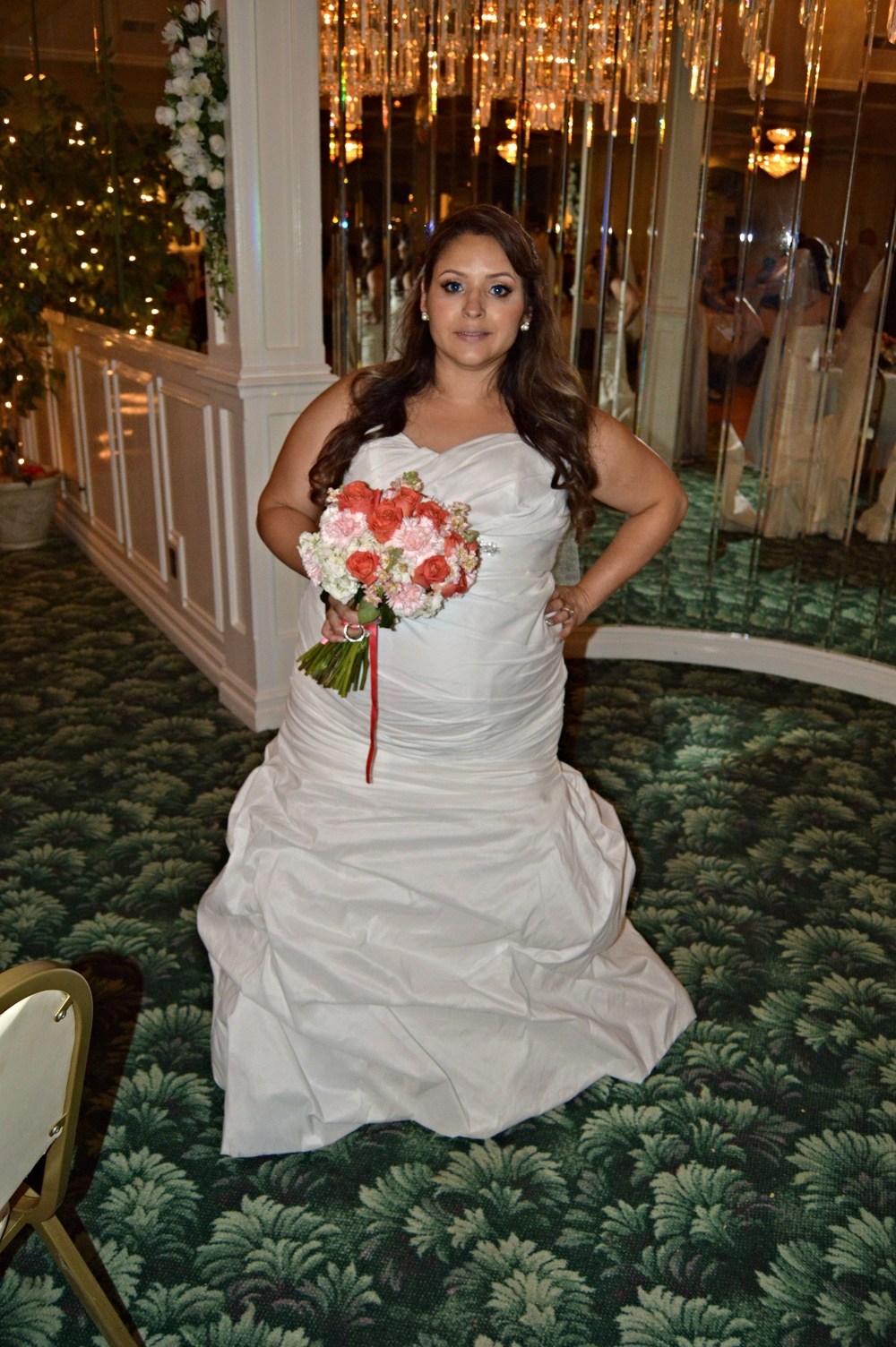 The bride, Melissa, showing off her beautiful gown and her very special package, a baby bump. She is a trooper! She lasted all day on her wedding day despite being full term and due the following weekend.