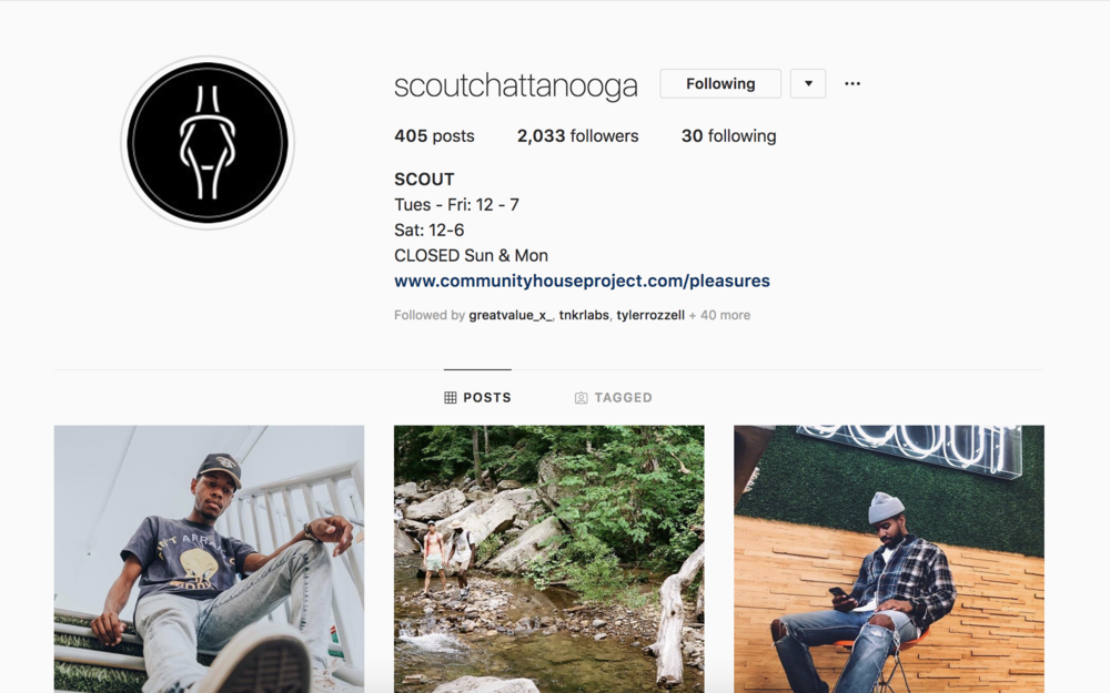 Click  here  to view the Scout page I've managed for the past two years. Most content is by me, curated from user generated content, or organized collaborations with photographers. Efforts have brought nation wide attention to the store and grown followers to over 2,000.