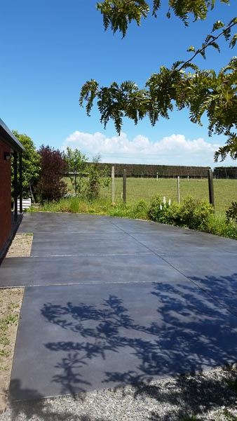 Coloured and Cut Concrete Patio in Wellington