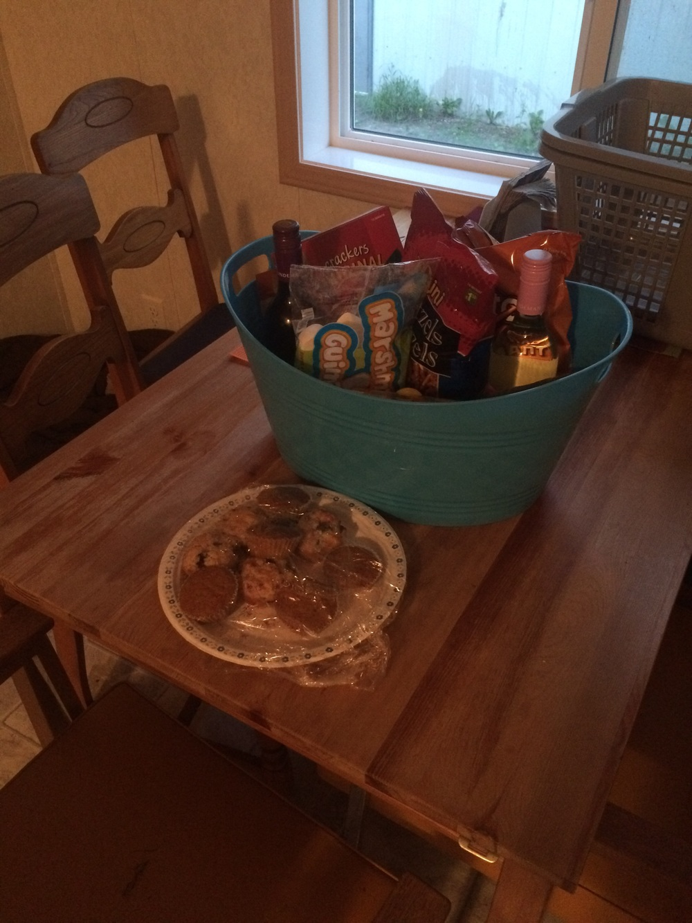 I loved this generous welcome basket that was left for us in our little trailer home!