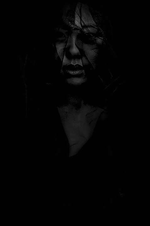 Shards of black.