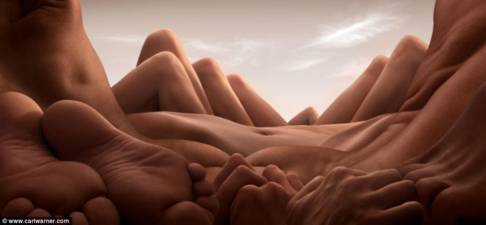 Body parts made into landscapes