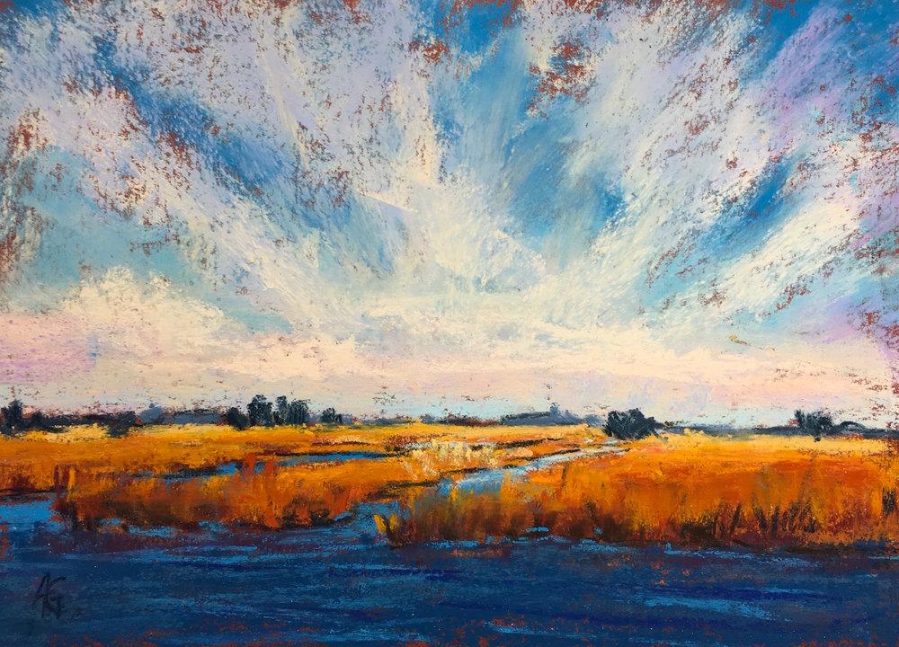 """Bursting sky"", 5x7 pastel."