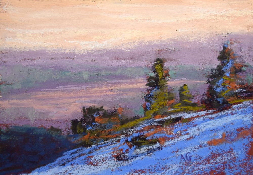 """Slopes n' snow"" 5x7 pastel. Sold."