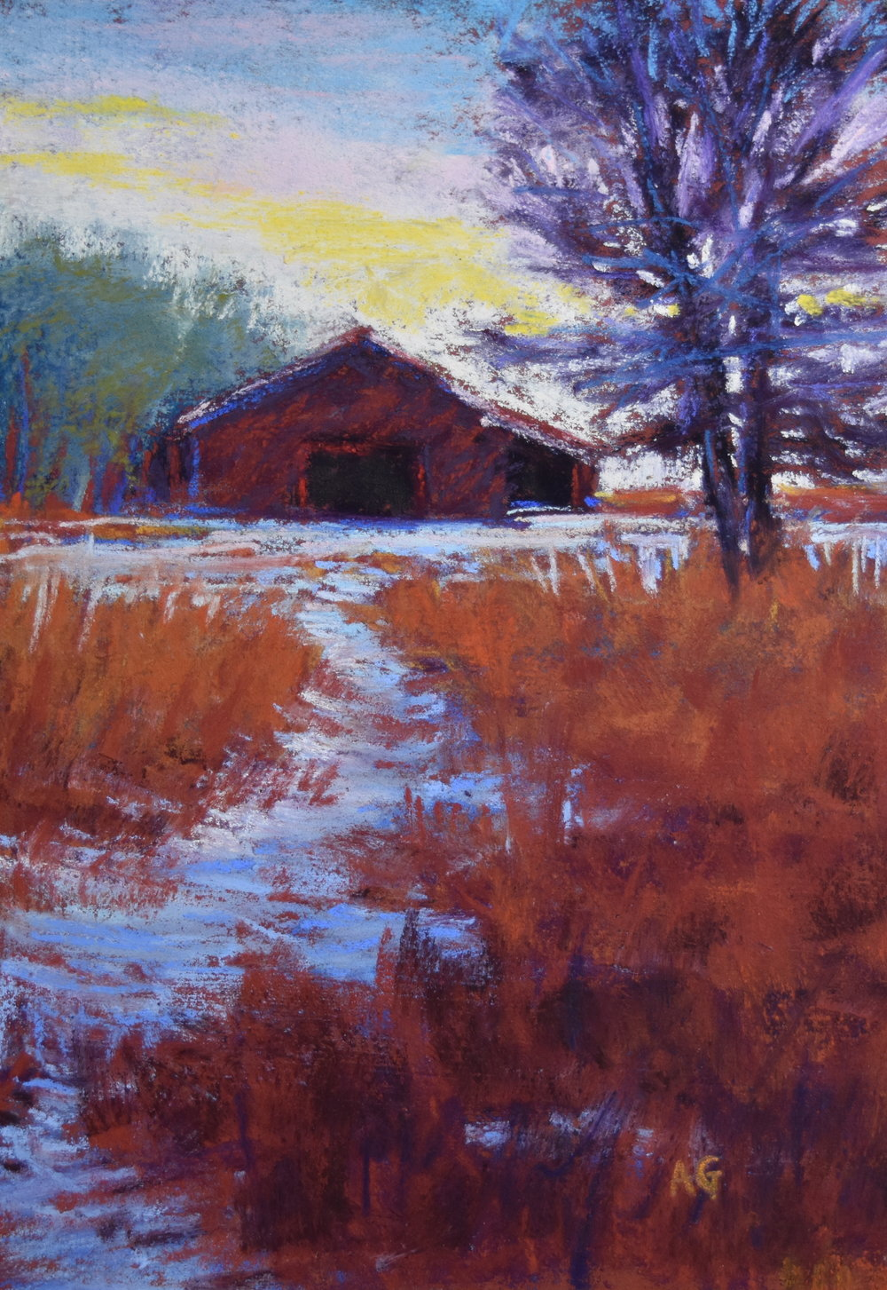 """Quiet in the Ranch"", 5x7 pastel."