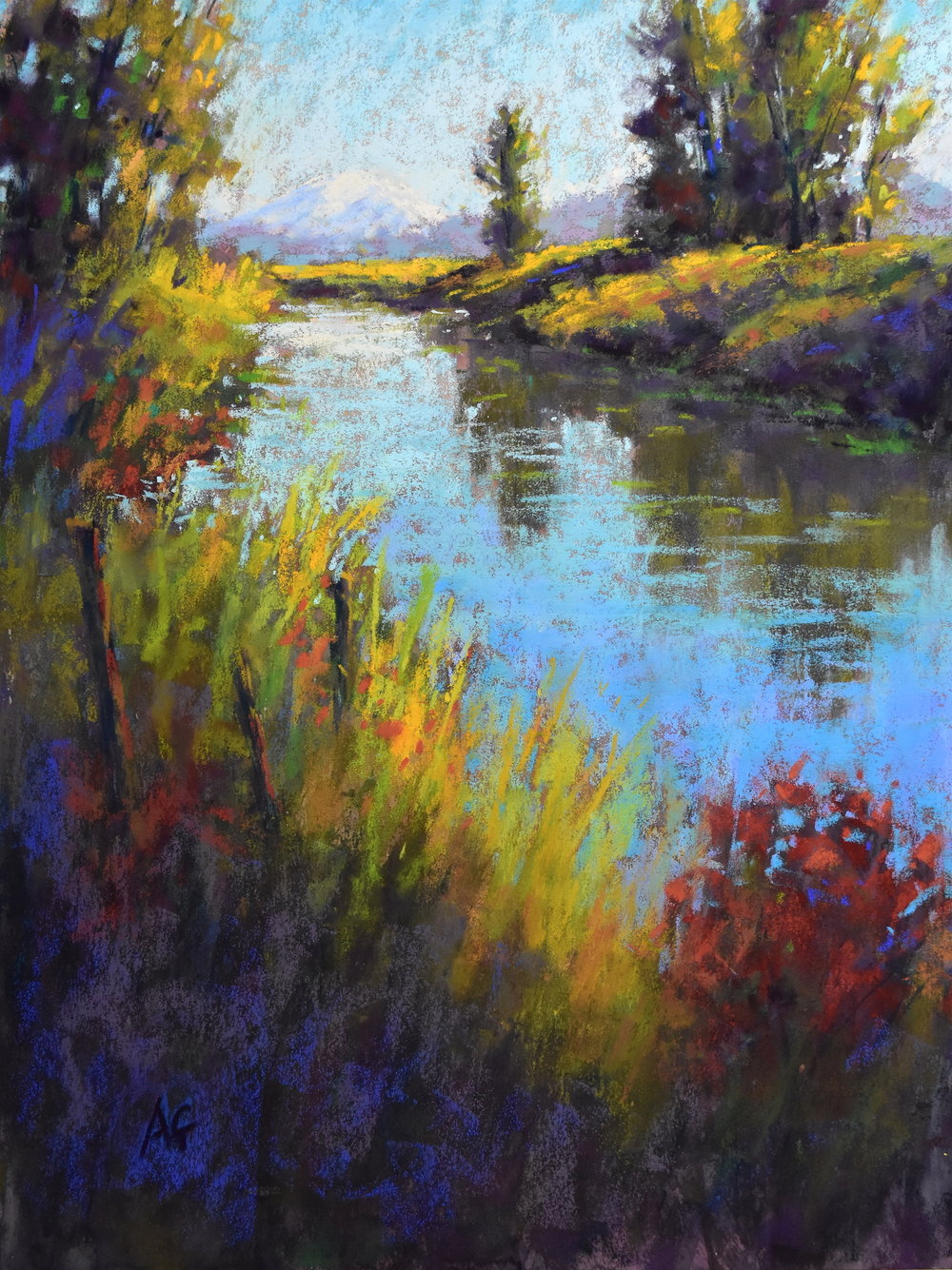 Looking down the slough. 9x12