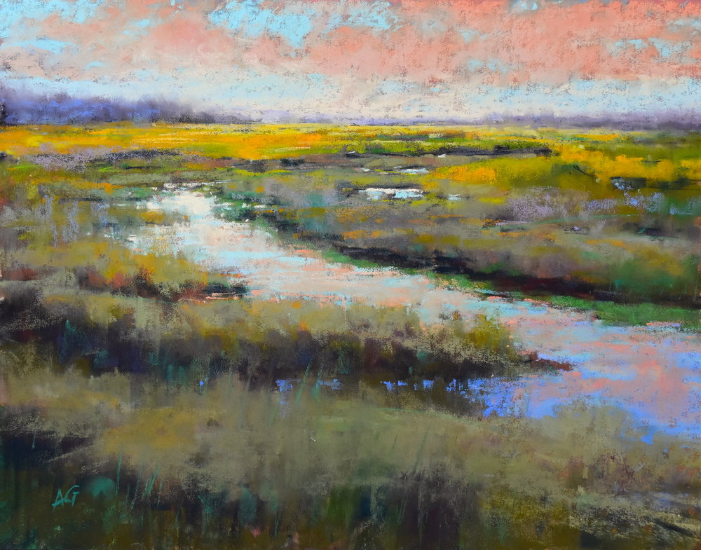 A Glimmer on the Marsh. 11x14. Sold.