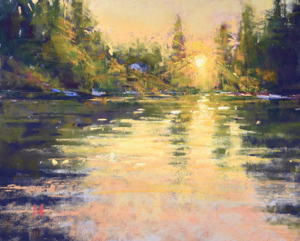 Gold in the lake. 8x10