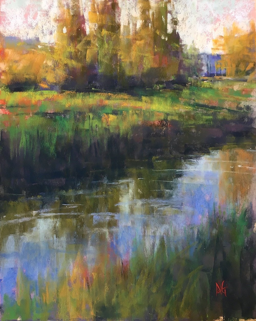 Reflections in the Slough. 9x12. Sold.