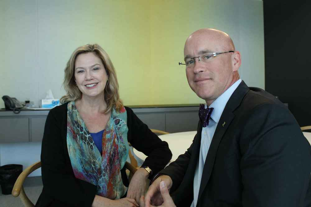 Leadership WA CEO Robin McClellan and US futurist Dr David E Martin. Picture: Perth Media.