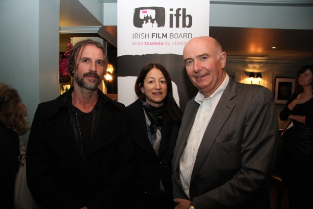 Producer Conor Barry with Janine Marmot of Hot Property Films with Chief Executive of the Irish Film Board James Hickey.