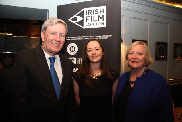 Irish Ambassador Dan Mulhall and his wife Greta with director of Irish Film Festival London Kelly O'Connor (centre).