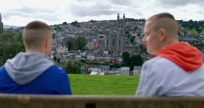 Conor and Jock in The Young Offenders - overlooking Cork City.