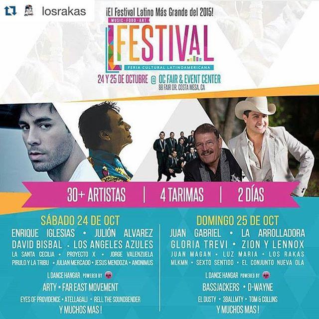This Sunday! We rocking with this legendary line-up rakasinla #soyraka #rakastylo #BOOM . . #Repost @losrakas ・・・ Este domingo compartiendo tarima con los mejores de la música latina no te lo pierdas. Los grandes del norte humildemente representando la marca del pueblo 🔥🔥🔥 #trabajandodelanochealamanana #rakanroll #losrakas #lfestival2015
