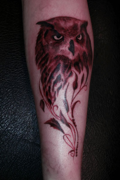 Fusion piece owl in sepia style