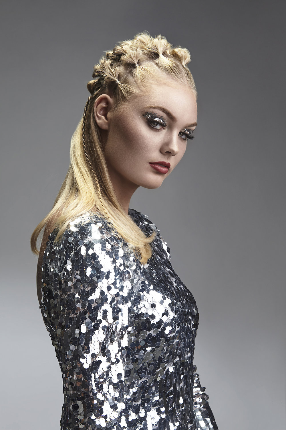 Fall-Hair-Collection-Shoot-for-Studio-Alf-Frisør-by-Dana-Cole-Photography-sequined-silver-dress-blonde-hair-red-lipstick-advertising.jpg