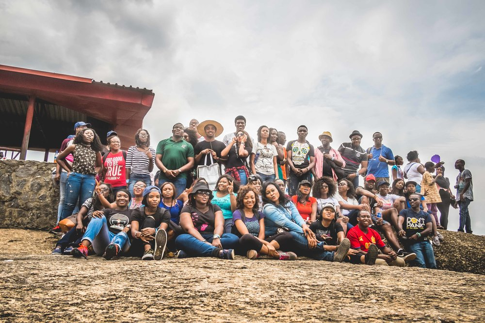 Tour group with Chiamaka seated bottom left, Photo via barbaric.com.ng