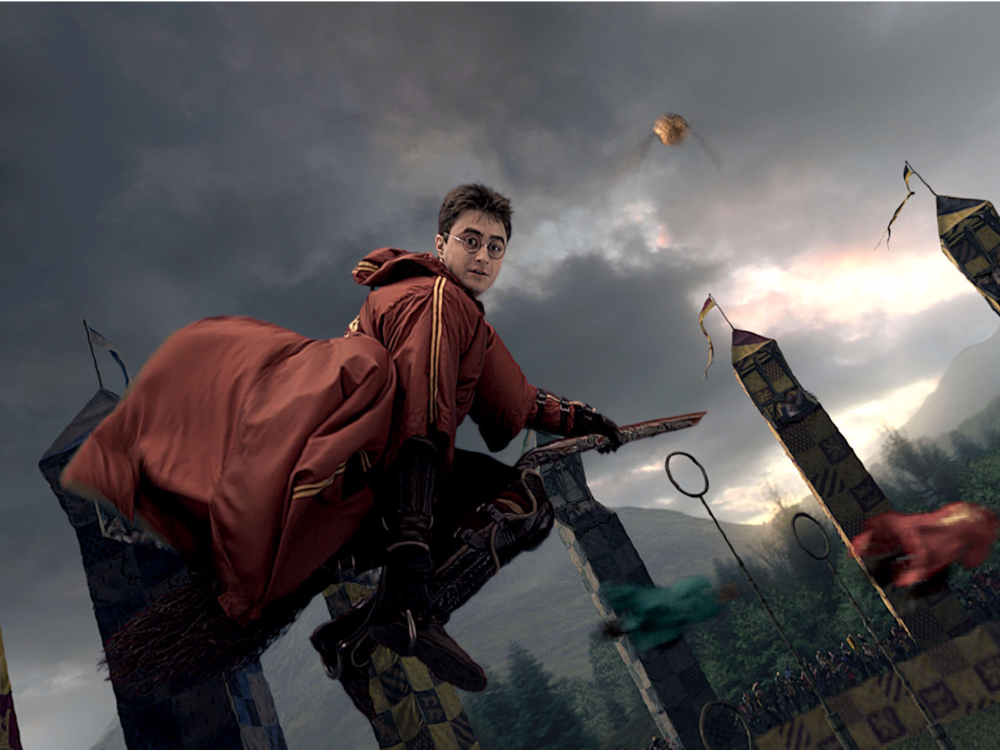 Harry Potter Playing quidditch on a Wizard broom // Photo:thisisinsider.com