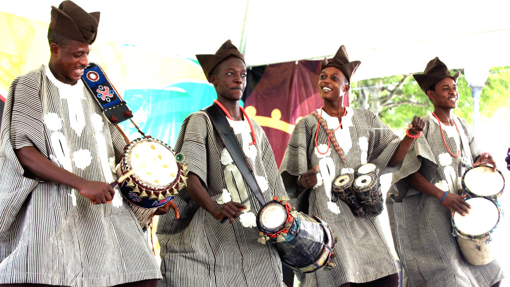 YORUBA DRUMMERS IN THEIR TRADITIONAL ATTIRE